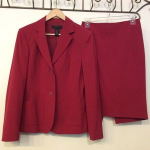 The Limited Stretch Red Suit and Pencil Skirt Set
